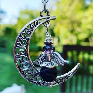 Jewelry - Crescent Moon Angel Necklace with Lava Stone